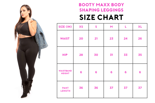 booty maxx body shaping leggings size chart