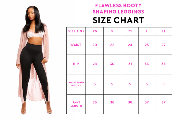 booty maxx flawless booty shaping leggings size chart
