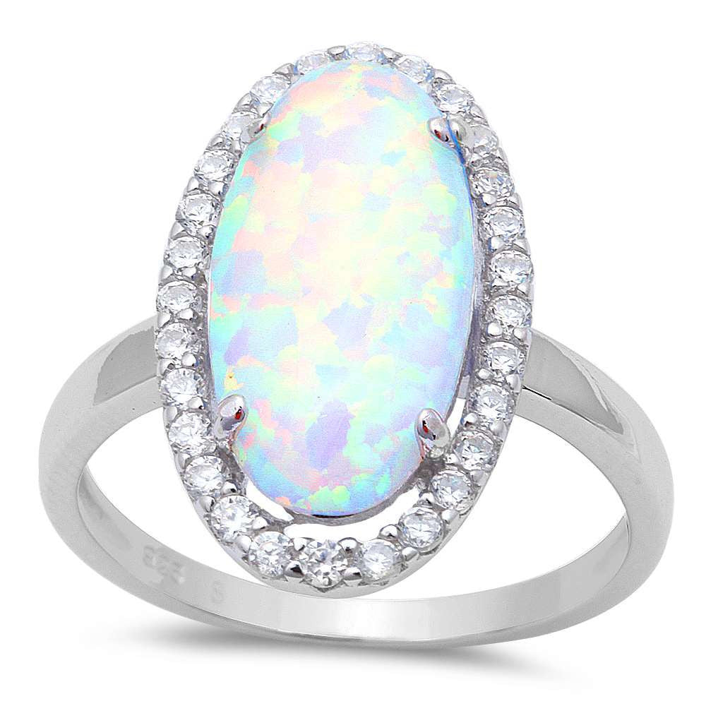 Rainbow Fire Opal Oval Ring