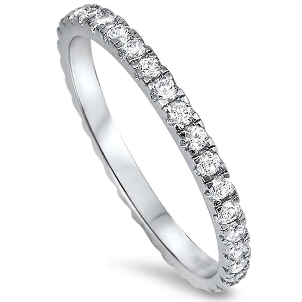 Split Prong Sterling Silver Eternity Band