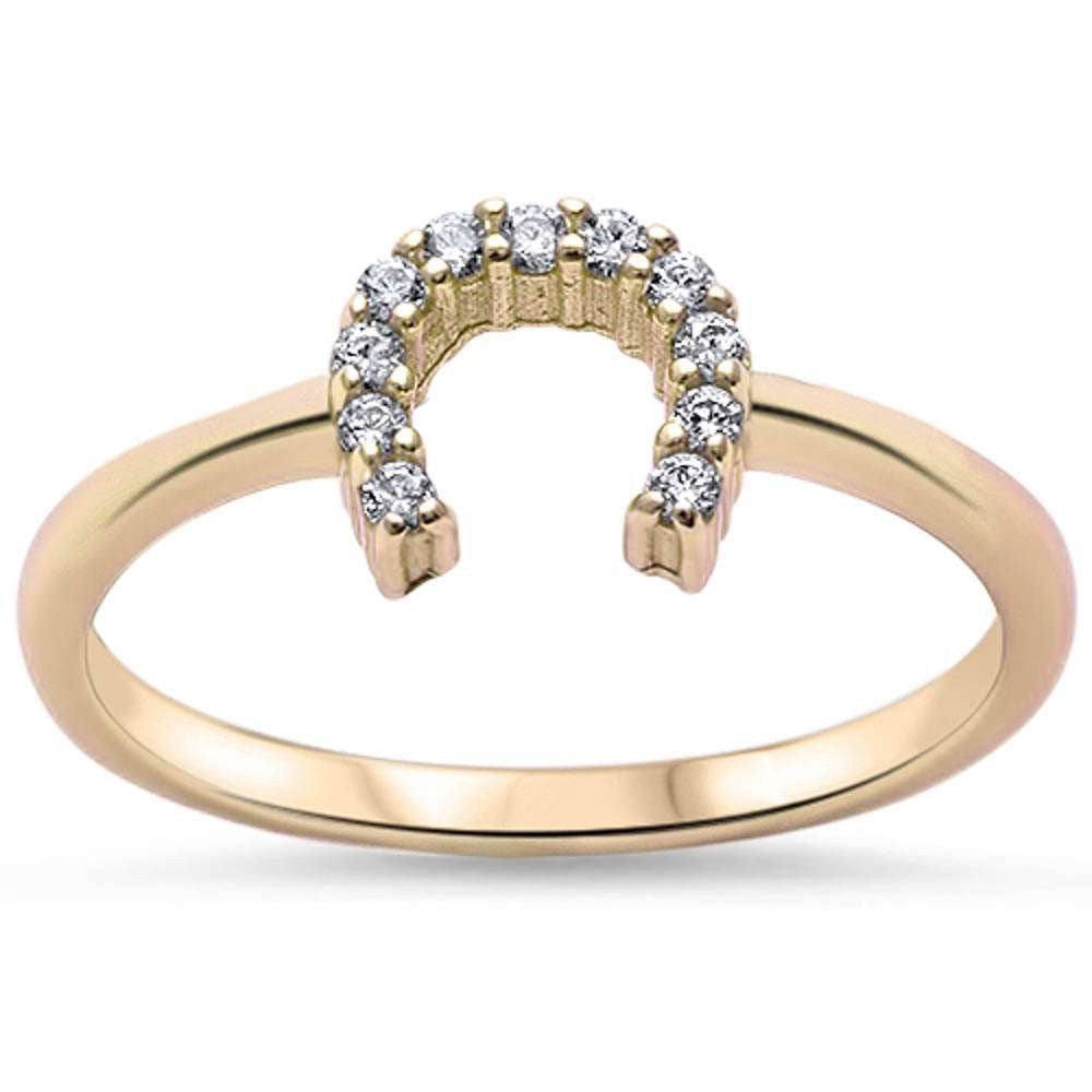 Yellow Gold Finish Horseshoe Ring