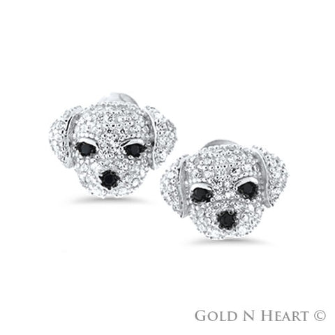 Puppy Face Earrings With Cubic Zirconia