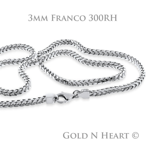 Solid Sterling Silver Franco Chain with Rhodium Finish 3mm - Franco-300-RH