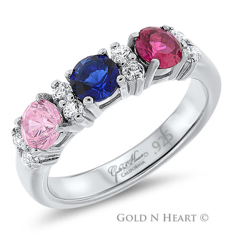 Mothers Birthstone Ring for Three Children