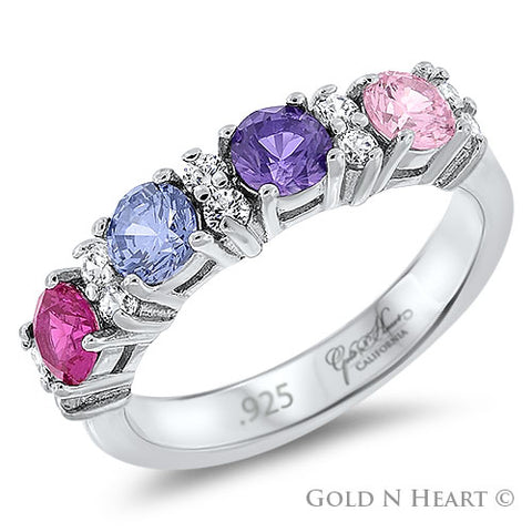 Mothers Birthstone Ring for Four Children