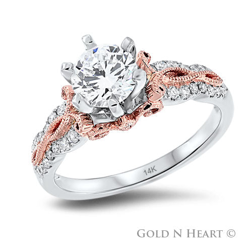 White Gold Engagement Ring with Rose Gold Accents