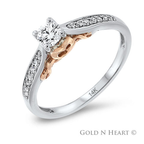 White Gold Diamond Solitaire with Rose Gold Accents