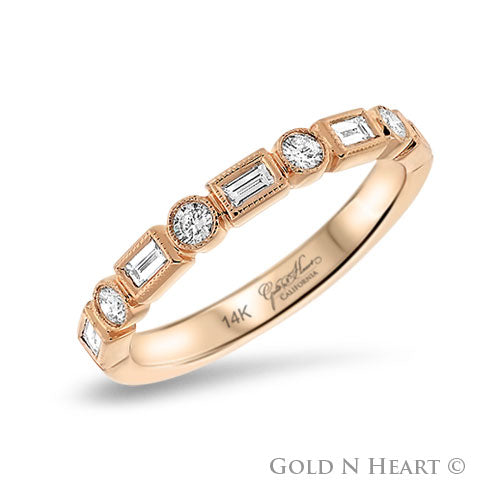 Rose Gold Baguette and Round Cut Diamond Band