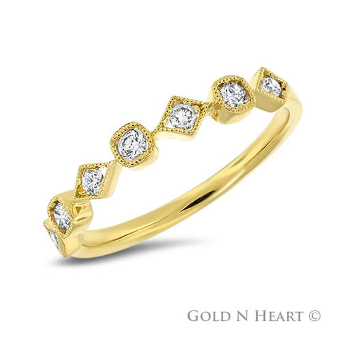 Small Cushion & Diamond Shape Diamond Band