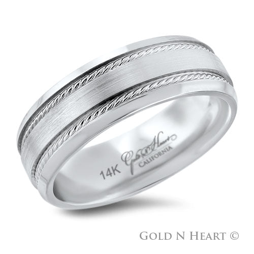 Twisted Rope Design 14K White Gold Wedding Band