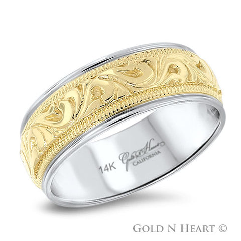 14K Gold Two Tone Hand Engraved Gents Wedding Band