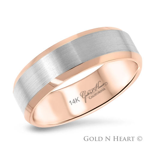 14K Gold 2-Tone Brushed White Gold With Beveled Rose Wedding Band
