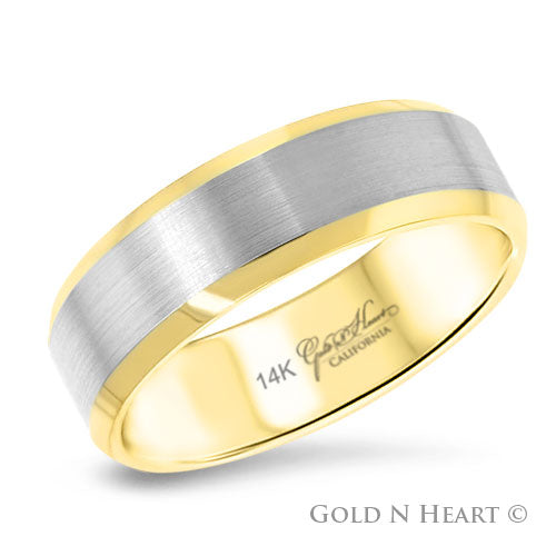 14K Yellow & White Gold 2-Tone Beveled Wedding Band