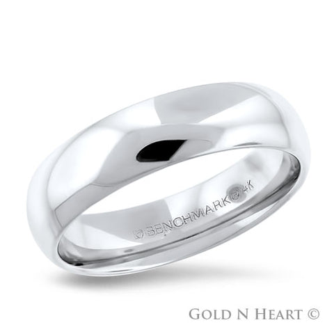 14K White Gold 6mm Comfort Fit Wedding Band