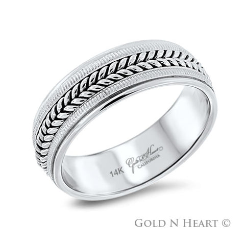 Mens Wedding Band with Hand-Made Braided Center