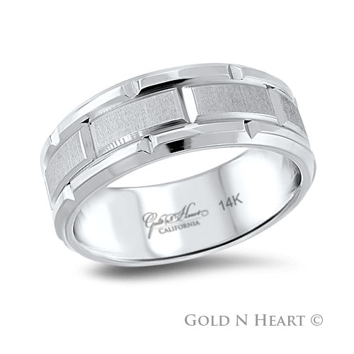 Concorde Mens Wide Chiseled Wedding Band 14K White Gold