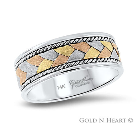 Three Color Gold Braided Hand-Made Wedding Band