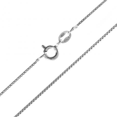 Solid Sterling Silver Box Chain with Rhodium Finish - Box 012