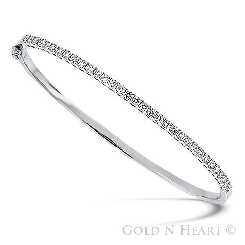 White Gold Diamond Line Bangle 18K