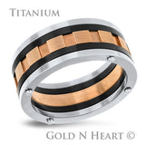 Three Tone Titanium  Wedding Band 9mm
