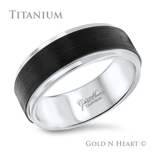 Flat Black Center with Polished Edges Wedding Band