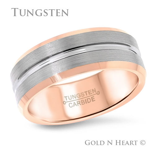 Polished Grooved Center With Rose Edge Tungsten Wedding Band
