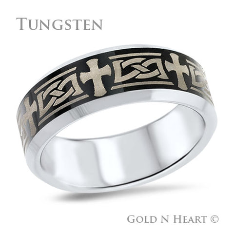 Polished Tungsten With Laser Etched Celtic Knot & Cross Wedding Band