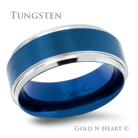 Brushed Blue Tungsten With High Polish Edge Wedding Band