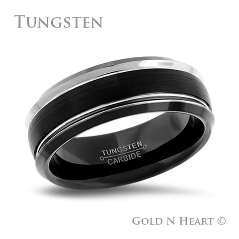 Black Tungsten With High Polished Grooves
