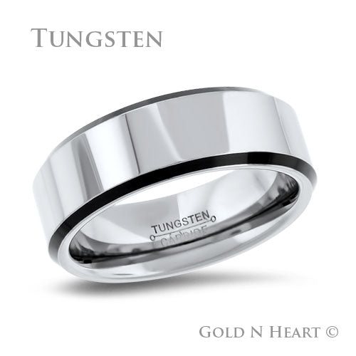 High Polished Flat Top with Matt Black Edge Tungsten Wedding Band