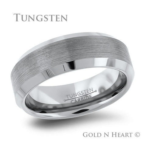 Classic 8mm Brushed Tungsten with Beveled Edges Wedding Band