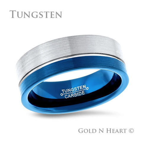 Offset Blue Anodized Tungsten Wedding Band
