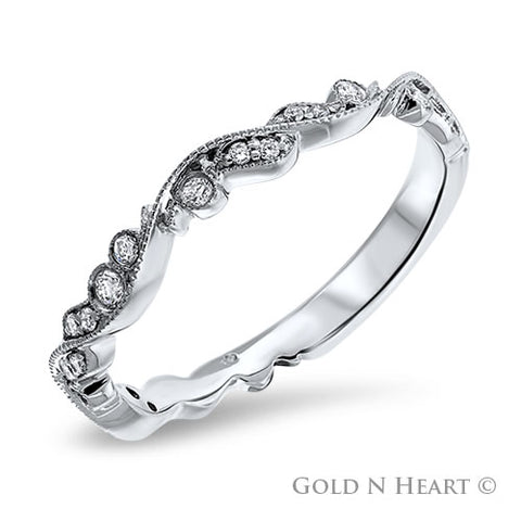Ornate Milgrain 14K White Gold Diamond Band