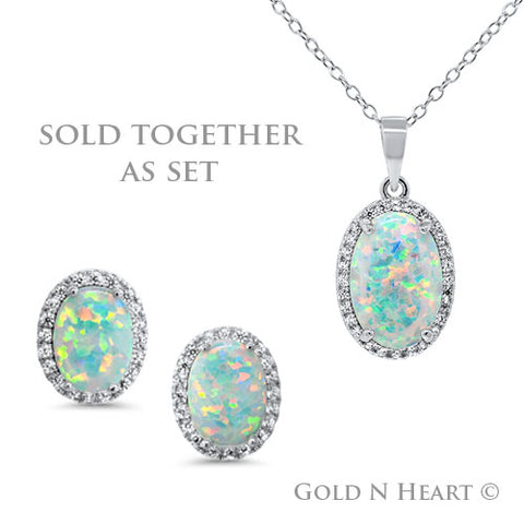Oval Fire Opal Earring & Pendant Set
