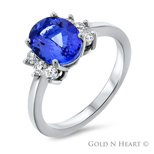 Blue Tanzanite & Diamond Ring