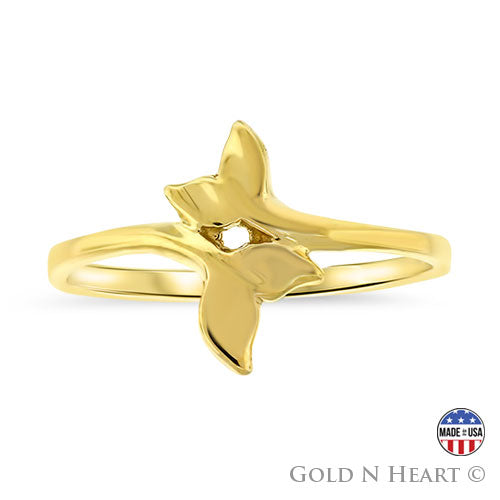 Gold Dolphin Tail Ring - Petite