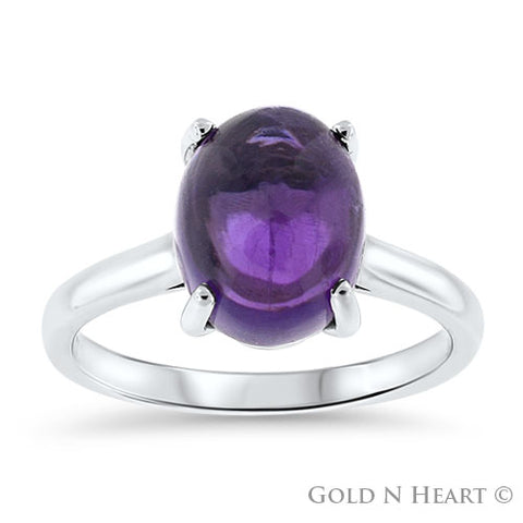 14K White Gold Ring with Cabachon Amethyst
