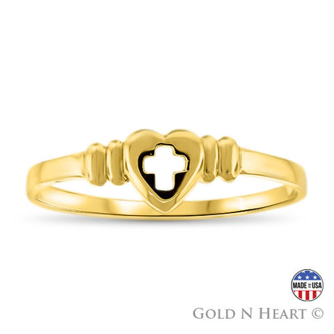 Gold Heart & Cross Ring