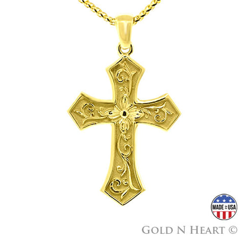 Ladies Floral Motif Cross Pendant