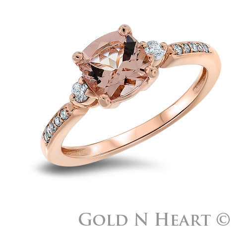 Morganite Solitaire Ring set in Rose gold with Diamond Shoulders