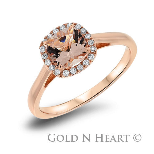 Morganite with Diamond Halo Cushion Shape Solitaire