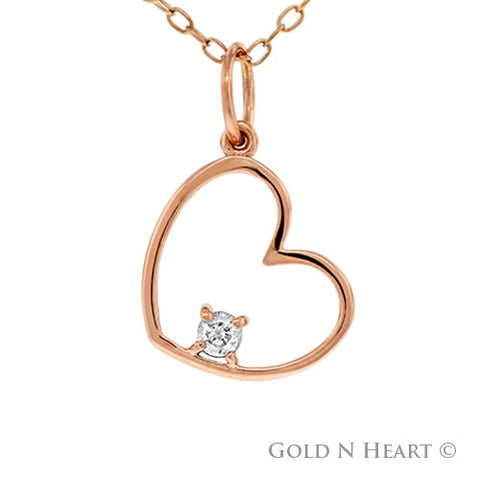 14K Rose Gold And Diamond Heart Pendant