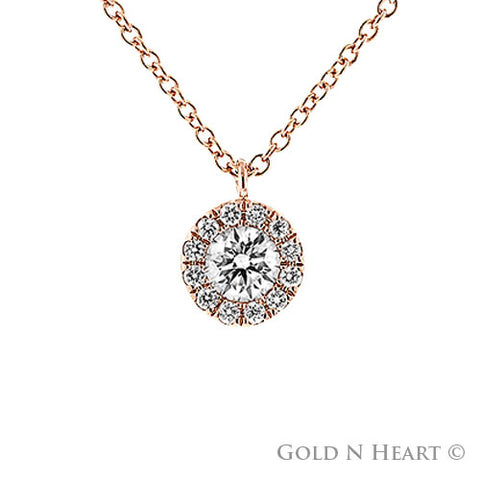 Diamond Cluster Rose Gold Necklace