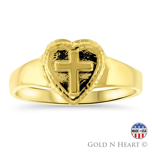 Gold Heart Ring With Cross