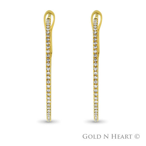 Thin Yellow Gold Diamond Hoops - Large