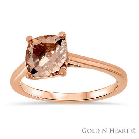 14K Rose Gold Solitaire Ring With Morganite