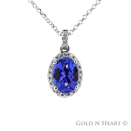 Natural Tanzanite & Diamond Halo Pendant in 14k White Gold