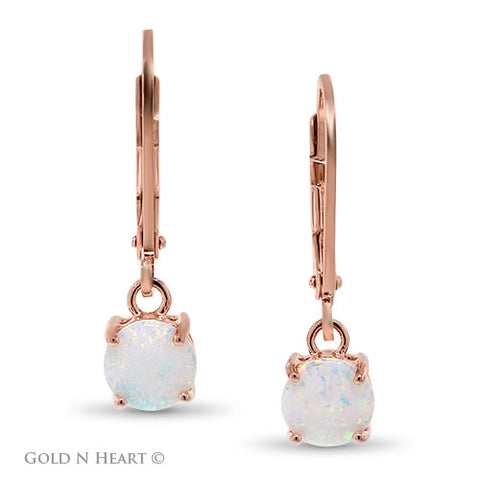 Round Opal Drop Earrings - Rose Gold Overlay