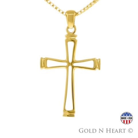 Open Cross - Solid 14K Yellow Gold