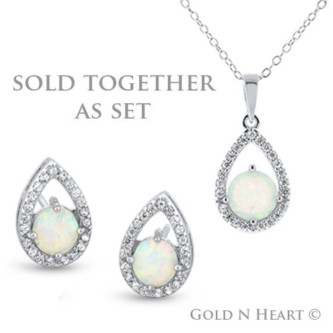 Tear Drop Opal Pendant & Earrings Set